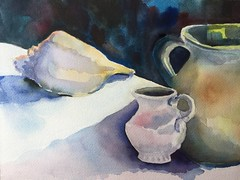 Shell and Pottery (Handwork Naturals) Tags: color light 2017 pottery seashell dailypainting painting watercolor