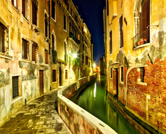 2 AM In Venice (Stuck in Customs) Tags: italy stuckincustoms treyratcliff venice trey ratcliff northeastitaly canal gondola houses street night horizontal colour color rr dailyphoto reflection glow lights blue white red orange green yellow brown hdr hdrphotography hdrphoto photographyworkshop boats hasselblad h5d february 2016 p2017 clouds trees skyline city architecture dusk bright road outdoor