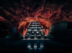 Tendrils (Panda1339) Tags: rocks rådhuset stockholm tendrils architecture underground red cave station metrostation nikon sweden metro