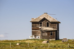Out with the Old (TigerPal) Tags: saskatchewan sask summer prairie plains backroads exploration dustyroad gravelroad house farm farmhouse abandoned forgotten foursquare ruin decay ruraldecay rural fridge stove haunted