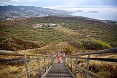 Climbing Down the Crater (cookedphotos) Tags: canon 5dmarkii travel hawaii oahu honolulu diamondhead diamondheadcrater hike hiking crater morning sunrise stairs descent down perspective girl woman view