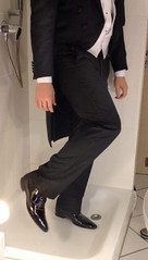 white-tie-shower-1_10300160884_o (shinydressshoes) Tags: tails tailcoat tuxedo suit muddy gunge wet shiny shoes shinyshoes leather patent dressshoes groom wedding whitetie frack formal shower lackschuhe lackschuh