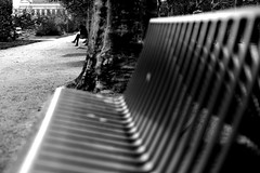 On the other bench (pascalcolin1) Tags: paris banc bench femme woman photoderue streetview urbanarte noiretblanc blackandwithe photopascalcolin