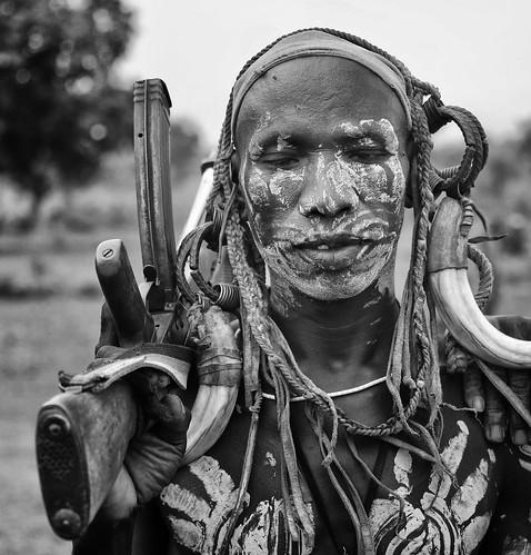Mursi Warrior, Mago, Ethiopia