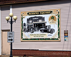 Rodino Square Building Sign on Route 66 in Pontiac, Illinois (eoscatchlight) Tags: illinois route66 mural pontiac mainstreetusa buildingsign themotherroad
