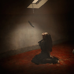 the weight of a feather (brookeshaden) Tags: selfportrait france bird surrealism feather chateau fineartphotography darkart deathanddying brookeshaden