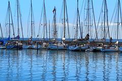 Ven (Maria Eklind) Tags: ocean summer sky water bicycle clouds boats island countryside skne view sweden ven resund  hven btar landskrona blhimmel