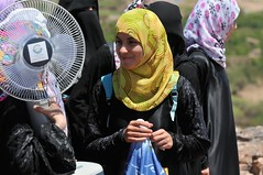 yellow hijab with solar fan