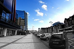 Time changes everything (Tyrone Williams) Tags: cardiff samyang8mm 8mm canon canon7d street wideangle architecture people insight shoppers capital wales 2017 winter