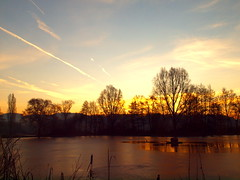 ICE ON THE POND PC102100 (hans 1960) Tags: sun sunrise himmel sky trees bäume ice cold geforen weiher nature natur pond mirrow landschaft landscape germany