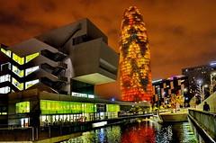 Barcelona: Museum for Design and Fashion & Torre Agbar (gerard eder) Tags: architecture architektur arquitectura night noche nacht barcelona spain spanien europa europe españa cataluña catalonia katalonien world travel reise viajes city ciudades städte torreagbar