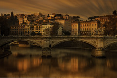 Sunrise in Rome (EosKid) Tags: rome travel river city cityscape life architecture buildings bridges colour dawn morning sunrise sunlight water tiber reflections longexposure beauty natural light italy europe trees
