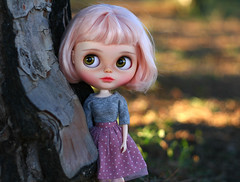 Petal (zsofianyu) Tags: takara tomy neo blythe factory doll fbl short pink cleopatra hair petal pastel colors freckles handmade clothes outfit etsy shop seller store outdoor forest sunset sunshine meadow nature portrait purple skirt dress lilac dots dotted tulle bow lace