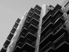 Hi-life (Andy WXx2009) Tags: streetphotography outdoors tower city cityscape sky building architecture spain figueres espana europe blackandwhite monochrome artistic abstract modern apartment skyscrapers skyline concrete
