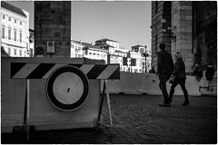 Barriers after Nice and Berlin (Roberto Spagnoli) Tags: barrier fotografiadistrada streetphotography blackandwhite biancoenero people prohibition divieto verona terrorism monocromo