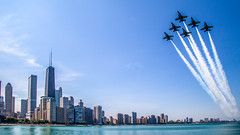 Chicago Skyline Bue Angels (LevKPhoto) Tags: chicago blueangels downtownchicago airwatershow