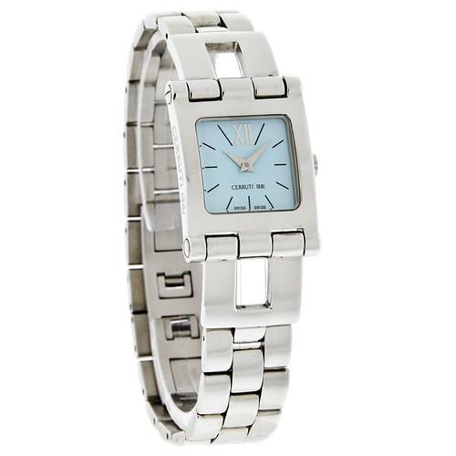 567b578a4f Cerruti 1881 Ladies Light Blue Square Dial Stainless Steel Swiss Quartz  Watch