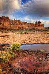 w h i s p e r s  11636 (Philip Esterle) Tags: clouds reflections dawn landscapes utah us sandstone rocks anp skies unitedstates scenic moab geology skyscapes archesnationalpark deserts hdr naturephotography waterscapes threegossips landscapephotography pentaxk3 fingolfinphoto philipesterle courthosetowers