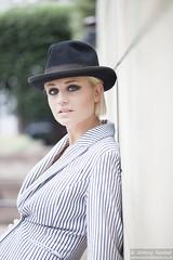 2015_07_30 Georgia W 541 WM (Sendall) Tags: portrait sexy london beautiful beauty hat fashion gorgeous location blonde stunning editorial canarywharf androgyny trilby androgynous isleofdogs