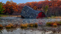 Sunken Barn (Paul Domsten) Tags: sinkingbarn zimmerman rural decay minnesota sunkenbarn pentax red autumn fall seasons water lake leaves trees reflections farm barn