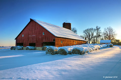 Winter Warmth_163928 (rjmonner) Tags: barn farm farming bales snow winter sunset defriesbarn jacksoncounty iowa rural agriculture agricultural agronomic hay silo dormant limestone farmstead gravelroad rustic pastoral picturesque shadow shadows