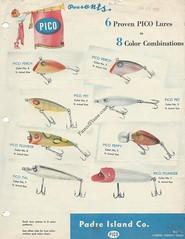 Pico Lure Sales Sheet (Antique Lures) Tags: antiquelure fishing padreisland pic picoluresalessheet picopallure picopeppylure picoperchlure picopetlure picoplungerlure picoplunkerlure