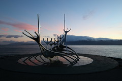 "Solfar Sun Voyager ""Explored"" (Derbyshire Harrier) Tags: 2015 autumn iceland sculpture predawn reflections reykjavík city capital mountesja sunvoyager jongunnararnason solfarsunvoyager sæbrautroad vikingship explored explore naturetrek wow"