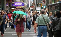 Green Umbrella       (DSC01185) (waitingfortrain) Tags: nyc 42ndstreet newyorkers timessquare