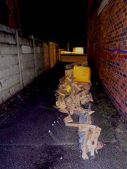 Fly tipping in Levenshulme (stillunusual) Tags: manchester mcr city england uk levenshulme leve m19 manchesterstreetphotography streetphotography street urban urbanscenery urbandecay decay abandoned flytipping rubbish garbage kingsway a34 evening night dark 2017