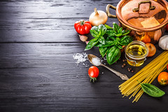 Italian food preparation pasta on wooden board (xuanlocshop.com) Tags: food copyspace italian design style healthylifestyle lifestyle healthyfood healthy spaghetti arrangement stilllife garlic metal spoon oil healthyeating tomato basil preparation nourishment board pasta placefortext cooking onion plant vegetable ingredient pan salt spice still layout composition topview top white copper black ready prepare eating wooden cook organic natural above ukraine