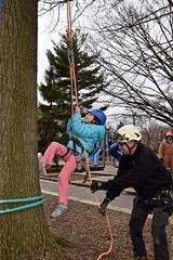 Arborist helps girl begin climb (Montgomery Parks, MNCPPC) Tags: treeclimbing woodsidepark january2017 2017
