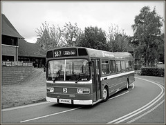 Western National 2813, The Castle (Jason 87030) Tags: westernnational leyland bus wellingborough day rally event 2016 july summer grey black white noir blanc mono bbw bw frame border landsend 2813 hta844n green theatre