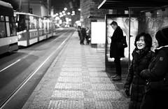 Waiting for the tram (petrwag) Tags: street sel3518 sony bw blackandwhite blancoynegro blackwhite černobílé czech clickcamera noiretblanc noirblanc night