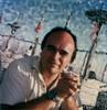 Tim (tobysx70) Tags: polaroid sx70 sonar emulsion manipulation time zero tz instant film tim gladstones pacificcoasthighway pch pacific palisades los angeles la california ca portrait man brother restaurant blue sky flag toby hancock photography