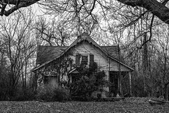 Junk House (nmclark100) Tags: abandoned forgotten decay neglected home house blackandwhite bw monochrome junk outdoors architecture trees scottsburg scottcounty indiana