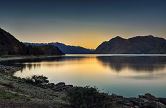 Sunset - Lake Hawea, New Zealand (Kevin_Jeffries) Tags: lakehawea newzealand sunset flickr serene paradise reflection lake water sky light nikon nikkor stone nature new beauty countryside evening flickrtoday environment adventure calm destination beautiful discovery freedom idyllic outside season vacation travel dusk kevinjeffries southisland southernlakesdistrict country wow