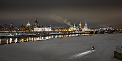 Germany - Skyline Dresden at Night (memories-in-motion) Tags: germany elbe night skyline bike winter cold lights color panorama city cityscape photography leica leicaq travel sightseeing dresden saxony frauenkirche semperoper water