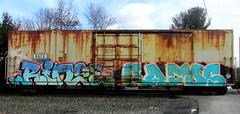 rinse - rafos (timetomakethepasta) Tags: rinse rafos freight train graffiti art boxcar rusted rusty drips h2o visah baex benching selkirk new york photography