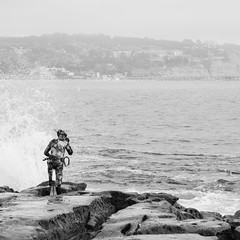Day 719 [6/8/15]: Braving the Break (Buuck Photography) Tags: california travel vacation blackandwhite bw monochrome square person photography intense view action dailypic trix photojournalism wave lajolla wanderlust adventure explore socal shore fisher hunter diver southerncalifornia splash dailyphoto wetsuit active photooftheday lajollacove sandiegocounty spearfishing project365 photoadaychallenge buuckphotos buuckphotography
