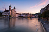 Lucerne Baroque (Nomadic Vision Photography) Tags: sunset summer alps switzerland europe historical baroque lucerne classicalarchitecture jonreid jesuitchurch riverreuss tinareid nomadicvisioncom