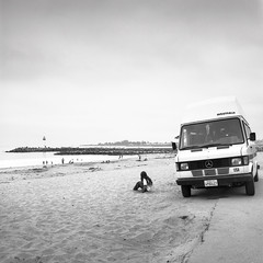 santa cruz, ca (Plimber) Tags: california ca blackandwhite bw santacruz 3 120 film beach zeiss mediumformat harbor lakes twin iso hasselblad stop filter 09 f nd plus epson pan 60mm cb rv 50 grad camper ilford campervan graduated gossen distagon seabright 501cm v700 digisix neutraldensity 3stop