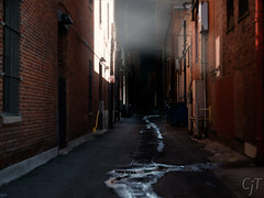 Dark Alley (Chris J Terry) Tags: light brick dark scary alley denver dirt rays