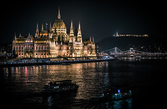 View of the Parliament at night from Margaret Bridge. (Vagelis Pikoulas) Tags: parliament budapest hungary night bridge tamron 70200mm river danube travel november 2016 autumn canon 6d europe