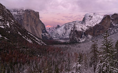 Beam thru the Valley (Darkness of Light) Tags: yosemite national park np tunnel view valley bridalveil falls el capitan half dome clouds rest cathedral spires three sisters brothers alpenglow stratus sunrise sunset glow red