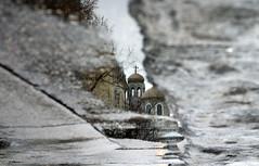 The Cathedral (YanBiBiYan) Tags: church cathedral reflection reverberation water puddle lights lines sky winter canon