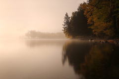 A Misty Morning (lfeng1014) Tags: mistymorning emeraldbay watertonlake watertonnationalpark alberta canada misty lake reflection canon5dmarkiii ef1635mmf28liiusm lifeng canadianrockies travel autumn upperlakewaterton landscape