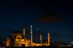Appreciate the beautiful things (revisited) / new moon on the rise (Özgür Gürgey) Tags: 2017 24120mm d750 nikon süleymaniye architecture crescent cropped evening lowlight moon mosque fatih istanbul turkey