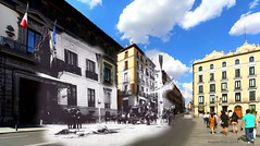 Mayor street, Madrid. 31 May 1906 and 31 May 2015. Three hours after the assassination attempt on spanish king Alfonso XIII / Tres horas después del atentado contra Alfonso XIII (Ramon Oria) Tags: atentado alfonso xiii mateo morral 31 de mayo 1906 anarquista caballo blanco calle mayor madrid victoria battemberg istituto italiano cultura instituto palacio abrantes spain españa attack anarchist assasination attempt terrorist palaciodeabrantes mateomorral callemayor alfonsoxiii carriage victoriaeugenia victoriaeugenie queenvictoria bomb terrorismo bomba orsini embajada italia gesternundheute gestern und heute sameplacedifferentday same place different day terrorism whitehorse