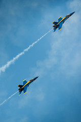 (Mike Miller II) Tags: show blue west mike yellow photography photo nikon fighter air jets over miller angels planes mass nikkor f18 blueangels base pilots d800