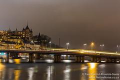 Railway Bridge in Stockholm at Night, Sweden